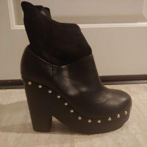Torrid Mixed Fabric Block Heel Boots Sz 13
